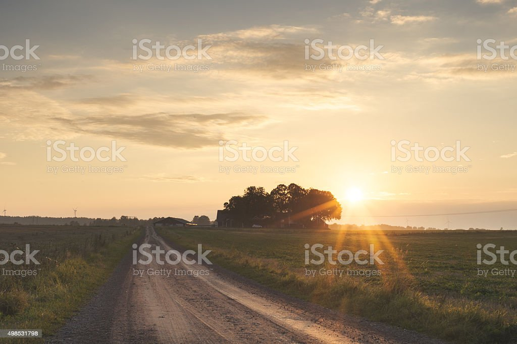 Landscape in Sweden with sunset stock photo