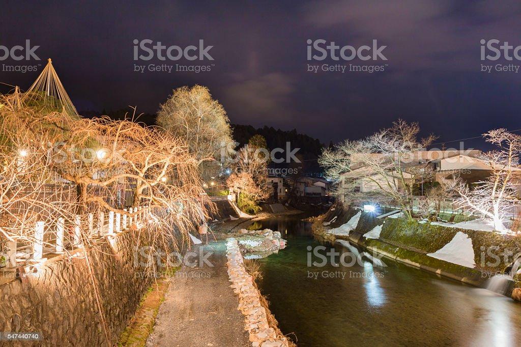 landscape in takayama old city in night time. stock photo