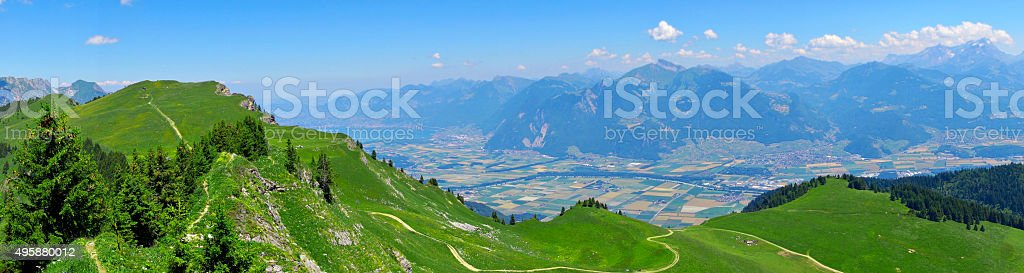 Landscape in the Alps Mountains stock photo