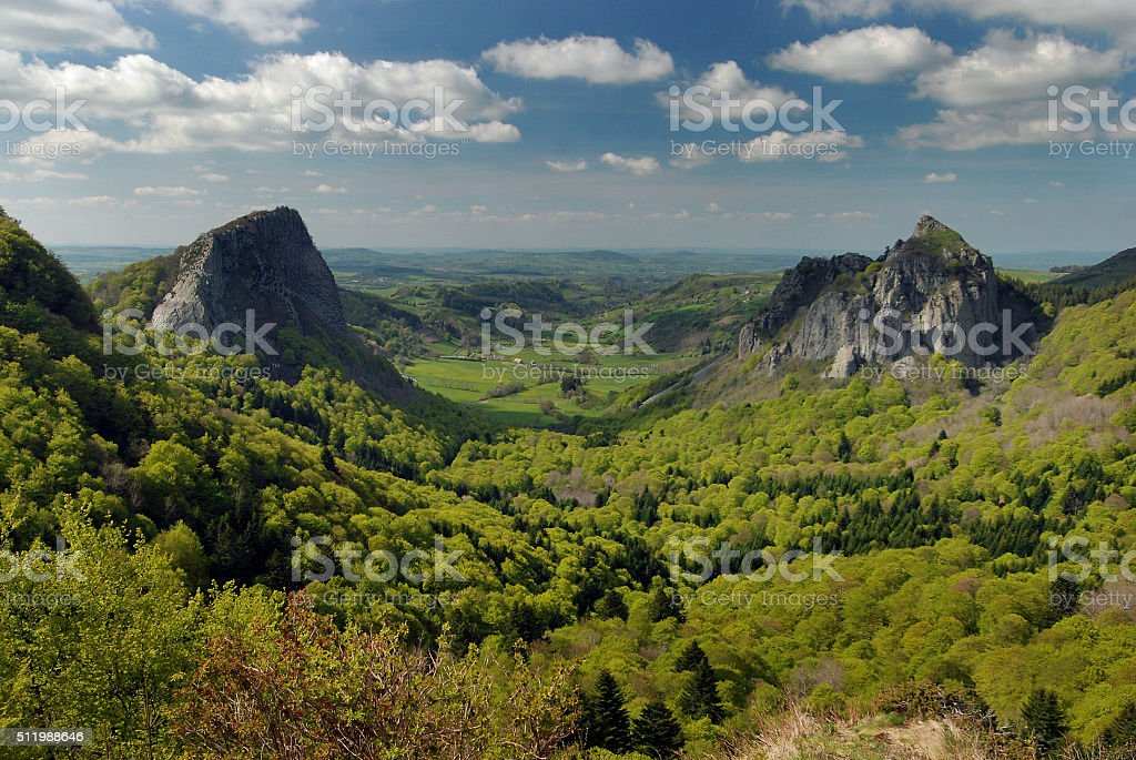 Landscape in the Auvergne, France stock photo