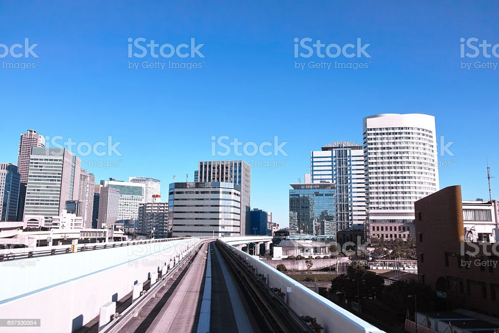 Landscape in the direction of Shiodome seen from Yurikamome stock photo