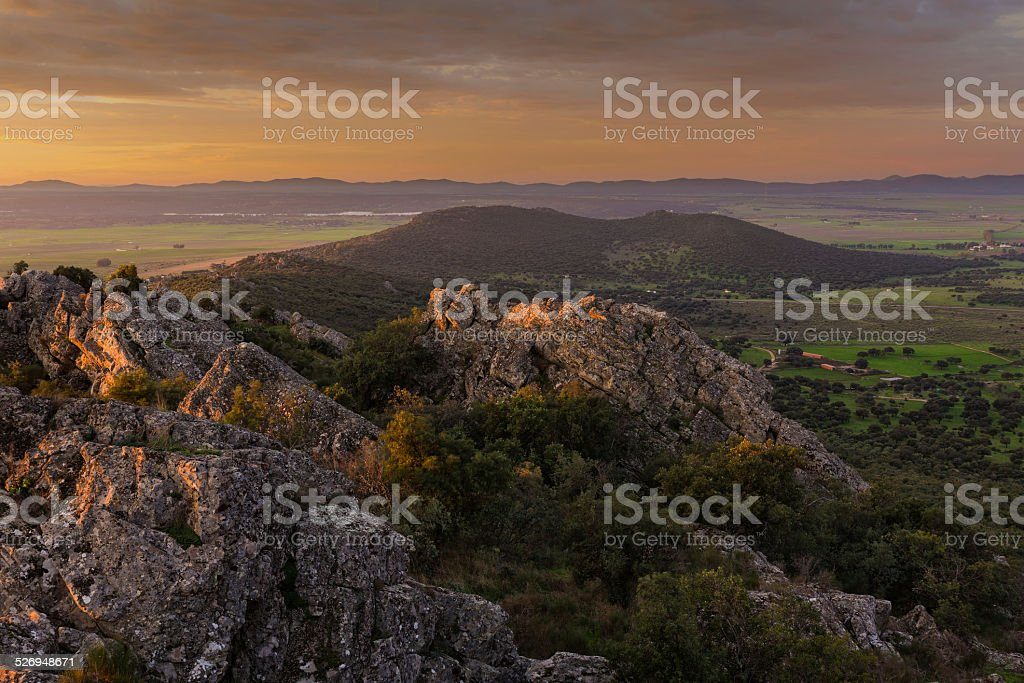 Landscape in the early morning stock photo