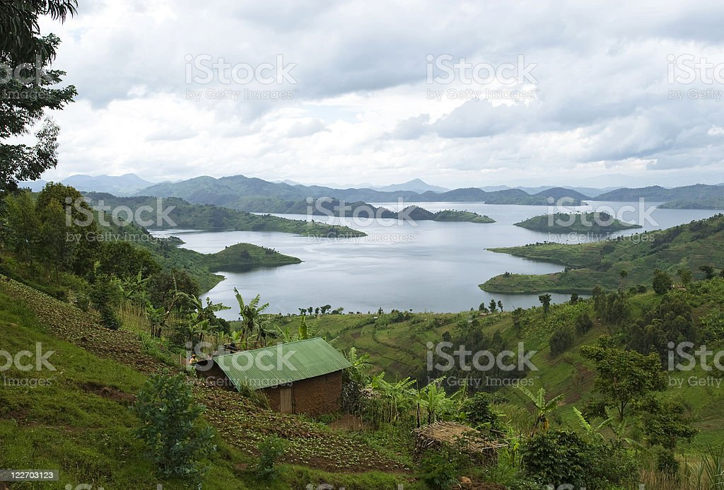 Landscape in the Lake region of Rwanda royalty-free stock photo