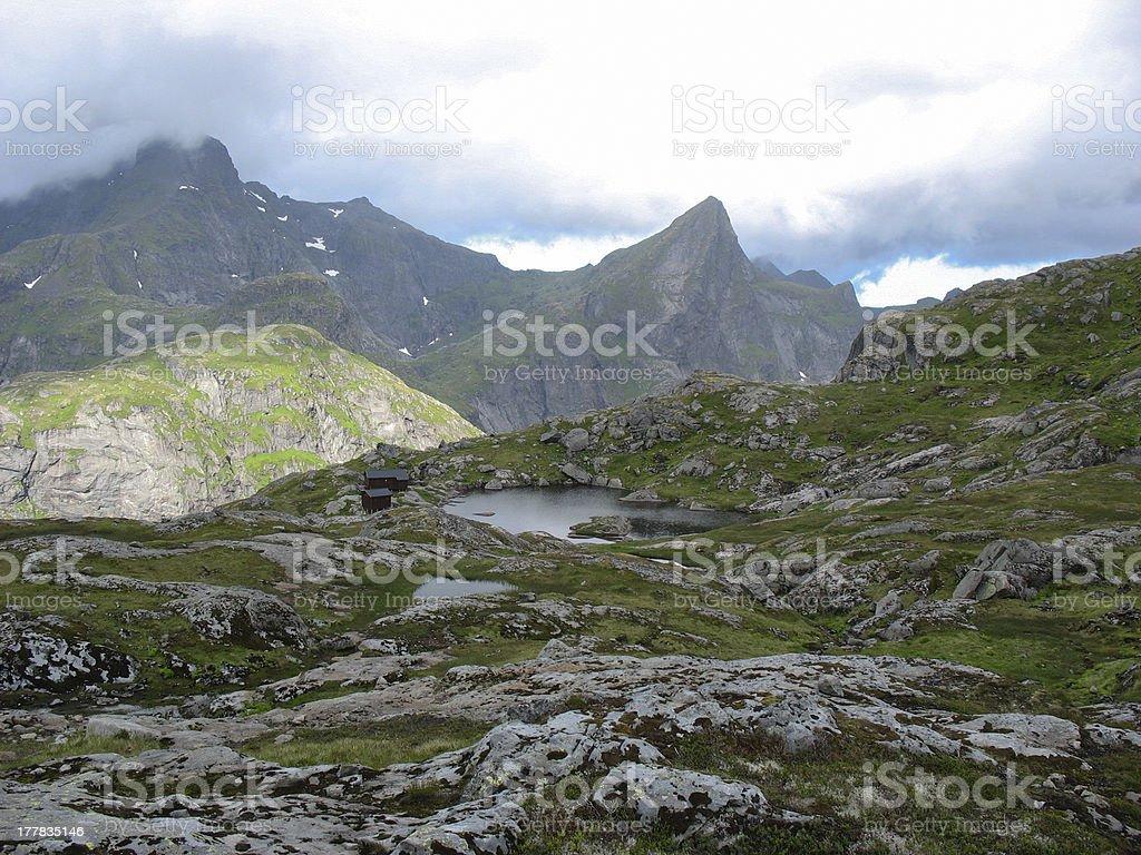 Landscape in the Lofoten islands near A village royalty-free stock photo