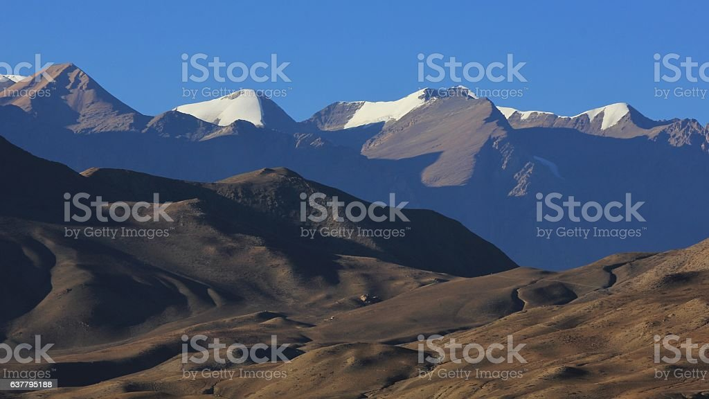 Landscape in the Mustang region, Nepal stock photo
