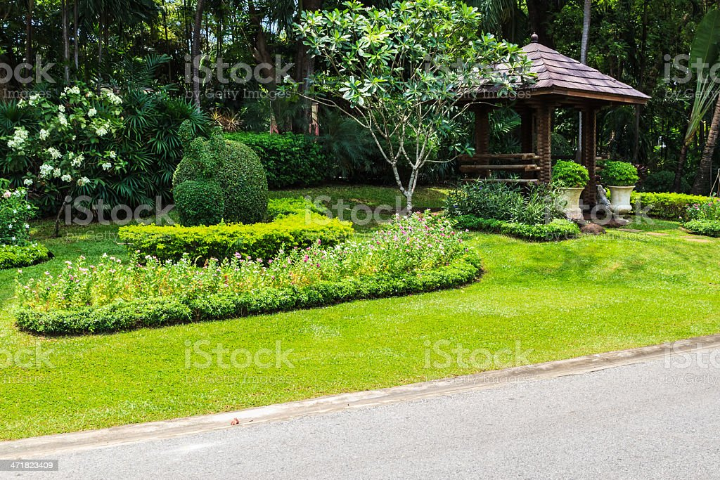 Landscape in the Park with Wooden Pavilion royalty-free stock photo
