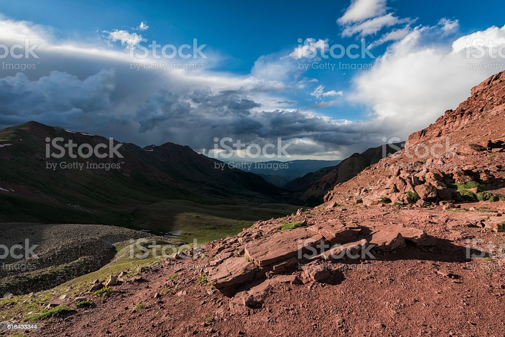 Landscape in the Rocky Mountains, Maroon-Snowmass Wilderness stock photo