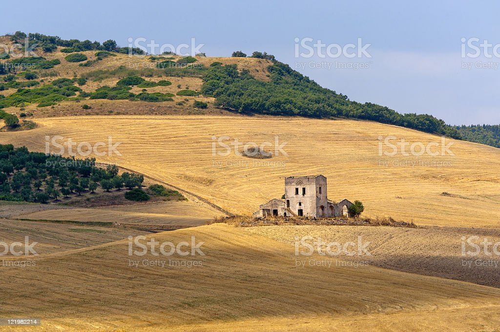 Landscape in the summer showing Puglia and Basilicata Italy stock photo