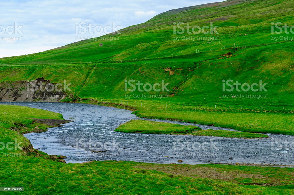 Landscape in the valley of Nordurardalur stock photo