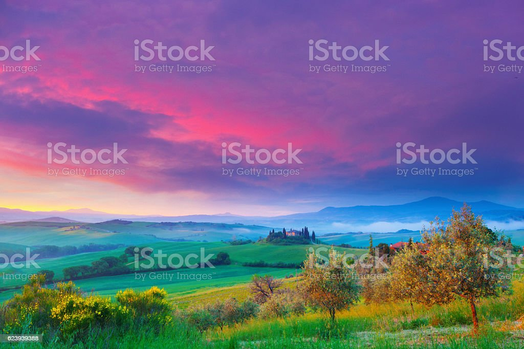 Landscape in Tuscany at dawn stock photo