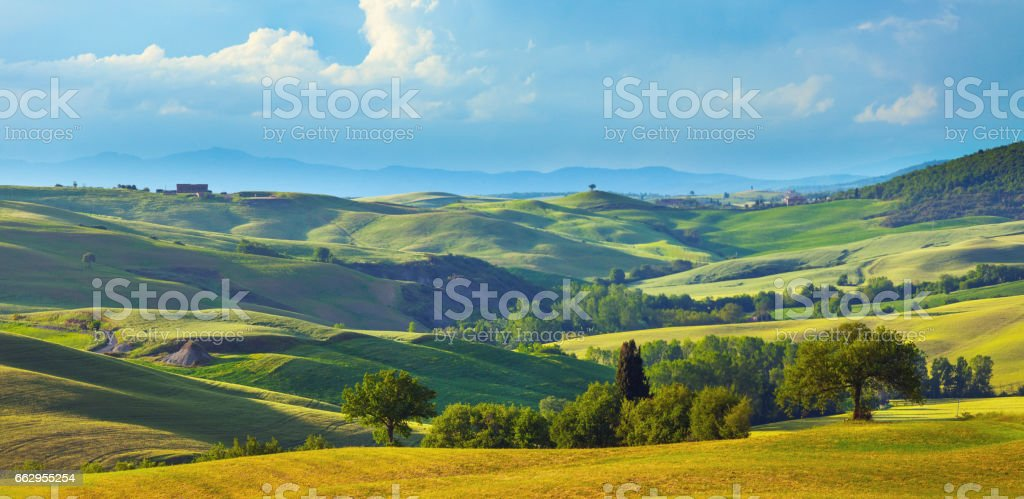 Landscape in Tuscany in the spring stock photo