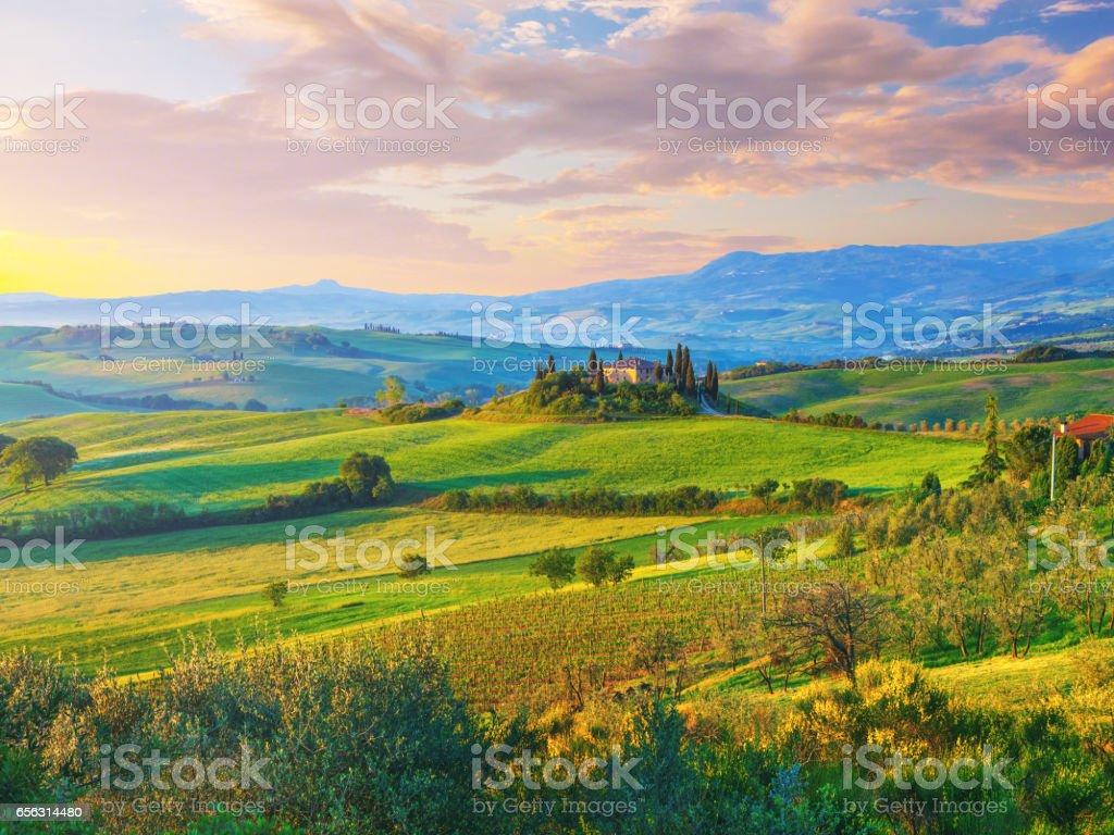 Landscape in Tuscany stock photo