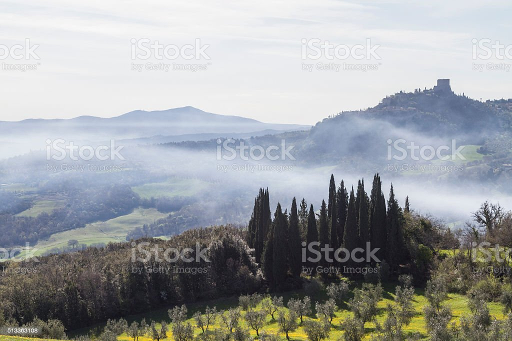 Landscape in Val d'Orcia stock photo
