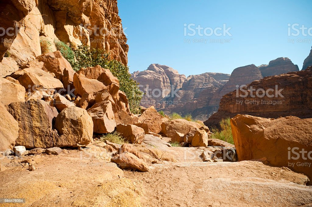 Landscape in Wadi Rum, Jordan stock photo