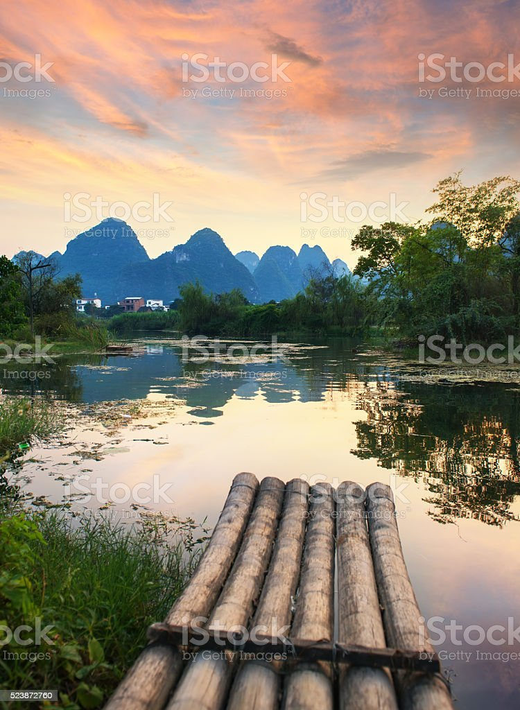 landscape in Yangshuo Guilin, China stock photo