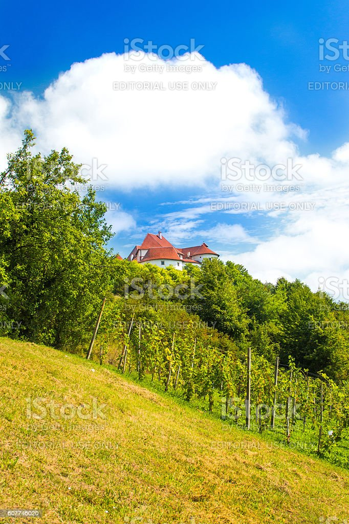 Landscape in Zagorje, Croatia, castle Veliki Tabor stock photo