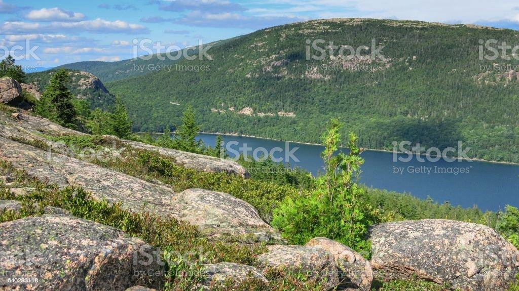 Landscape, Jordan Pond, Penobscot Mountain Trail, Acadia National Park, Maine stock photo
