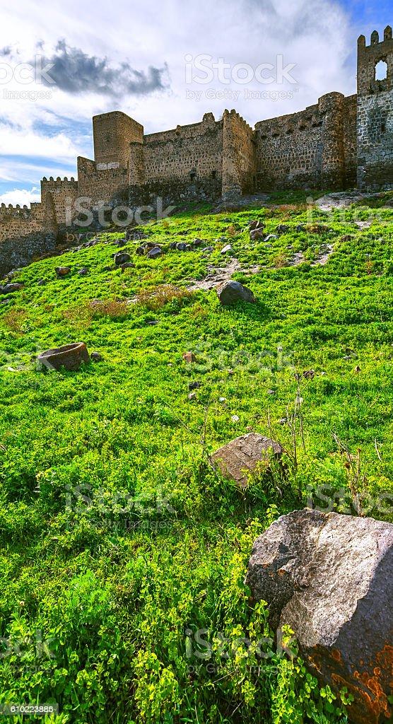 Landscape, Khertvisi fortress stock photo