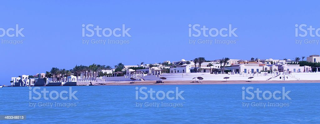 Paisaje lagoon villas foto de stock libre de derechos