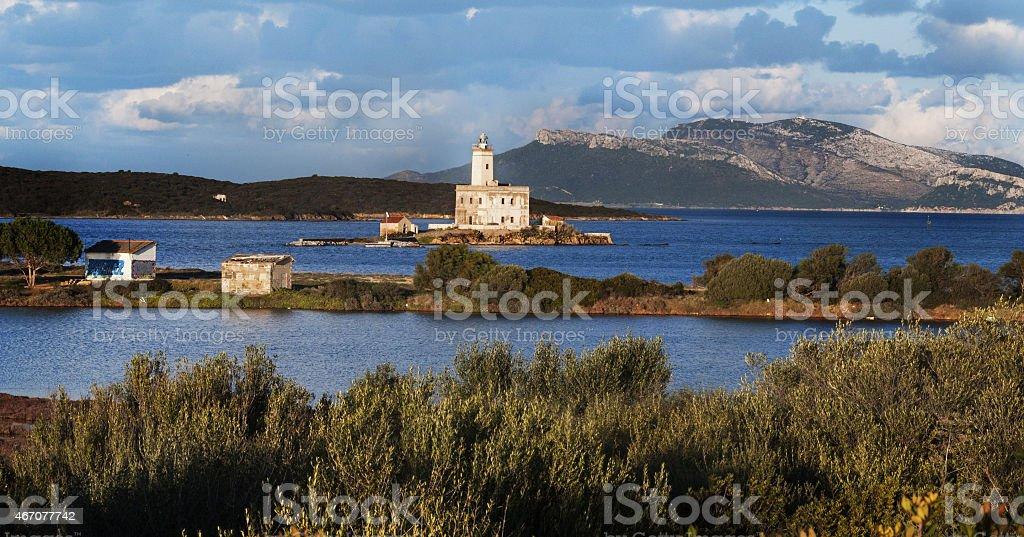 Landscape Lighthouse of olbia bay , Sardinia, Italy stock photo