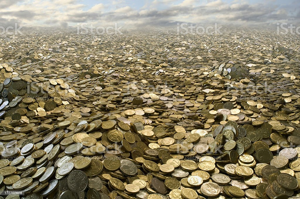 Landscape made of gold coins royalty-free stock photo