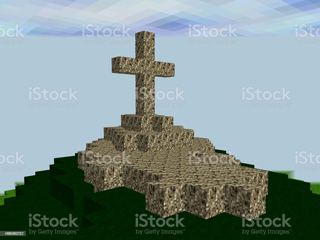 Landscape made of pixel squares with cross on the top stock photo