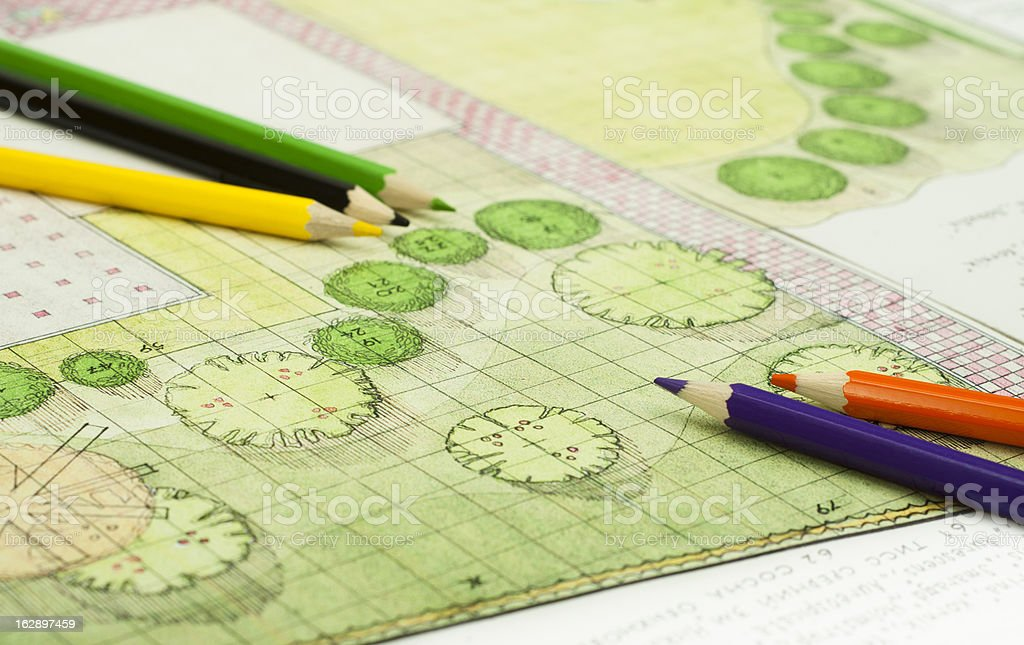 Landscape map drawing with colored pencils stock photo