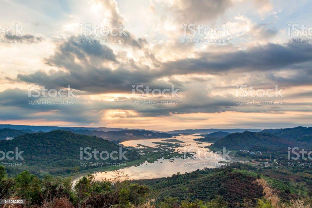 Landscape Mekong River stock photo