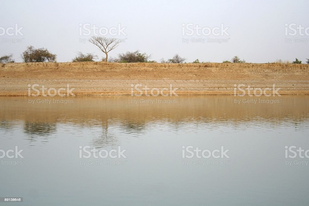 Landscape mirror on the Niger stock photo