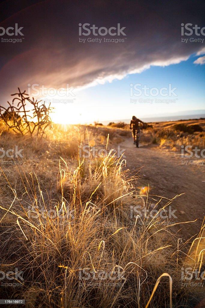 landscape mountain biking sunset royalty-free stock photo