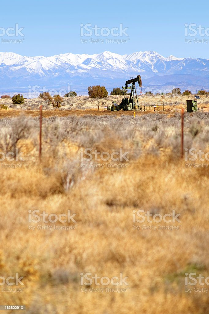 landscape mountain oil rig royalty-free stock photo