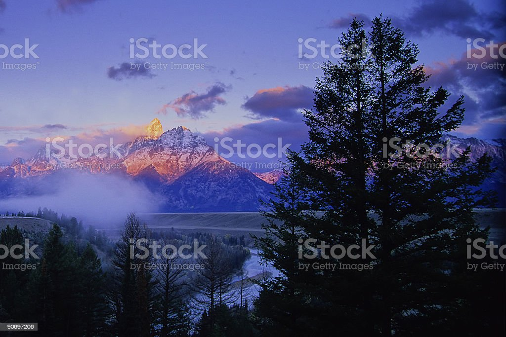 landscape mountain sunrise royalty-free stock photo
