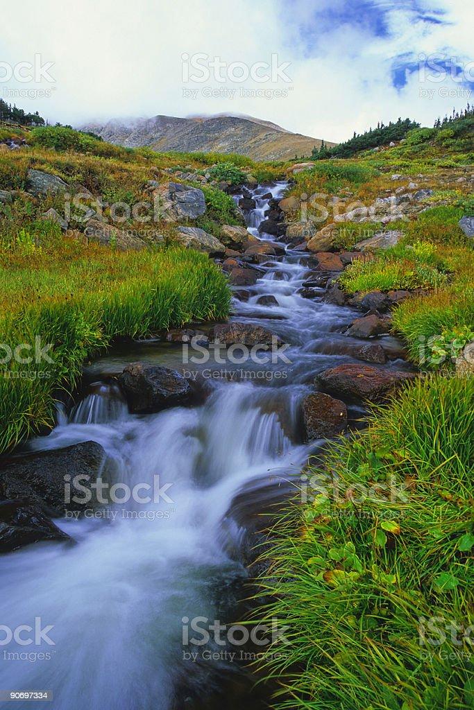 landscape mountain waterfall creek royalty-free stock photo