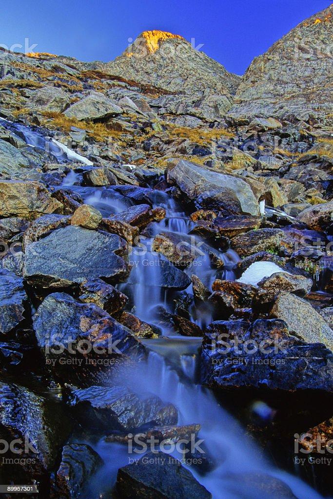 landscape mountain waterfall rocks sunset stock photo