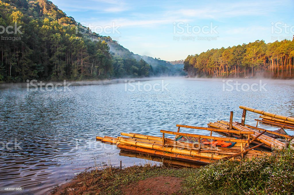 Landscape mountains and river mist royalty-free stock photo