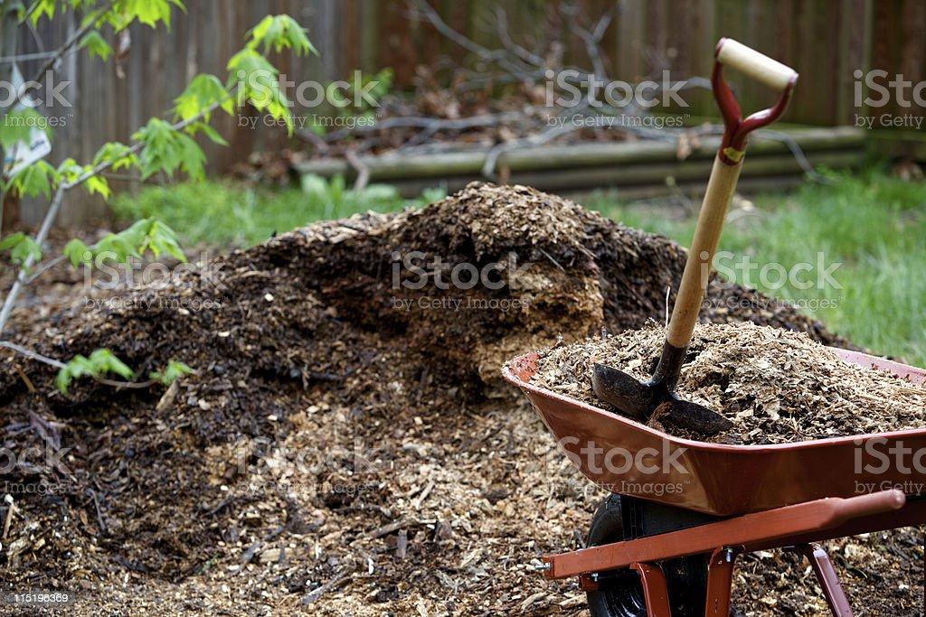 landscape mulch yard work royalty-free stock photo