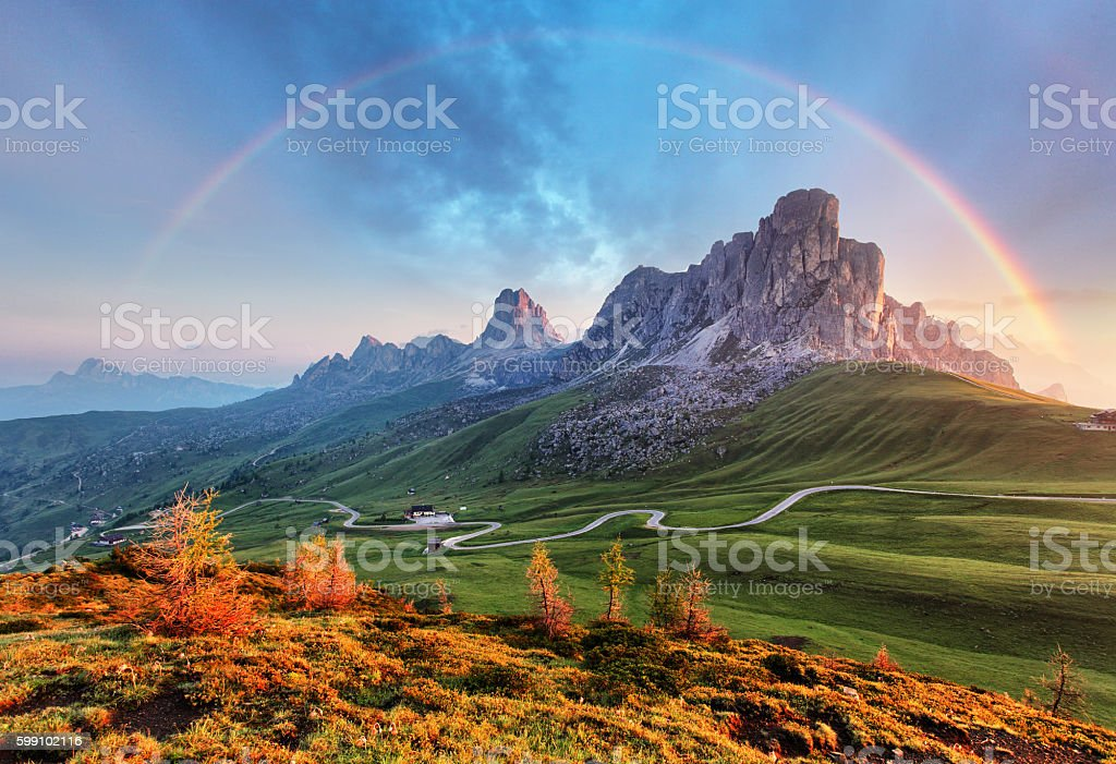Landscape nature mountan in Alps with rainbow stock photo