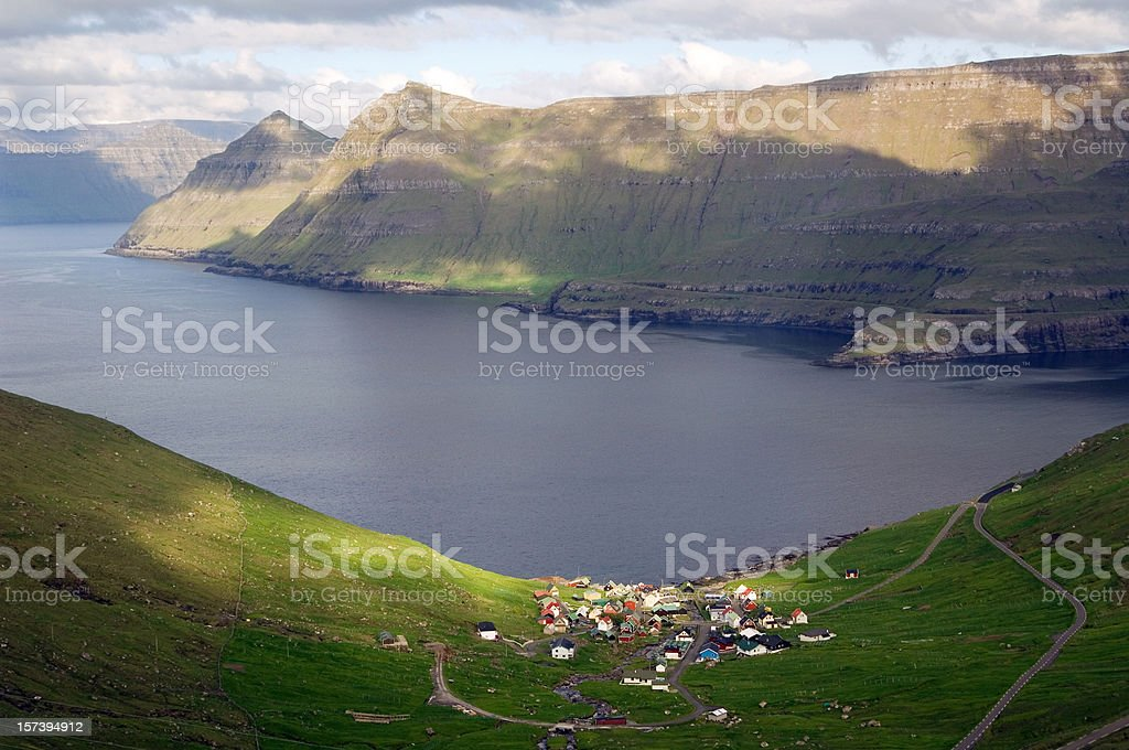 Landscape near Funningur Faroe Islands stock photo