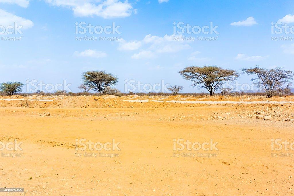 Landscape near Laisamis, Kenya stock photo