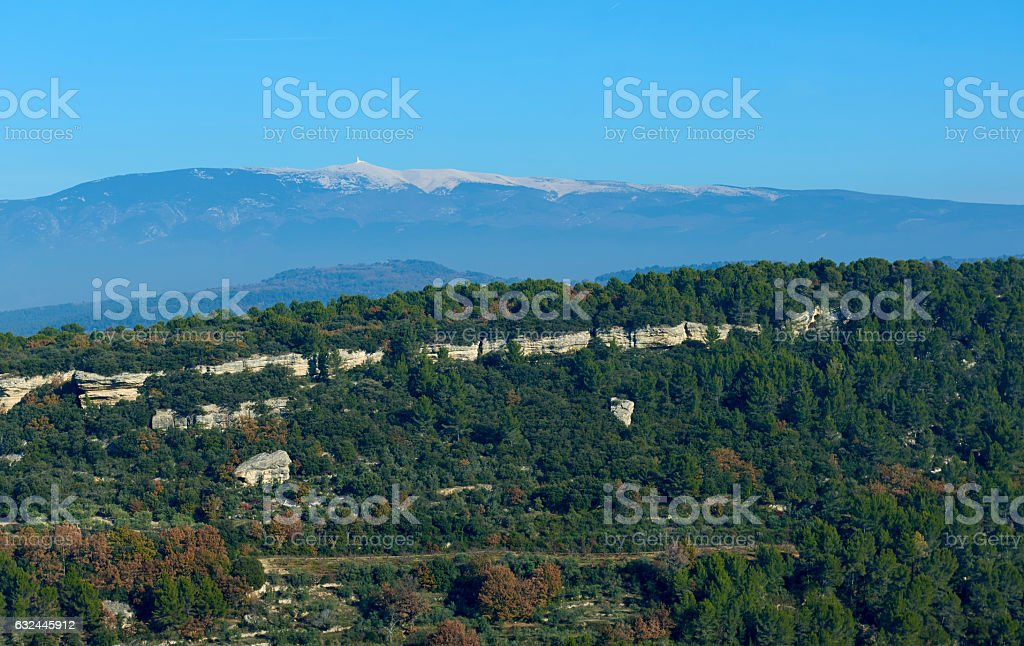 Landscape near Venasque village. France stock photo