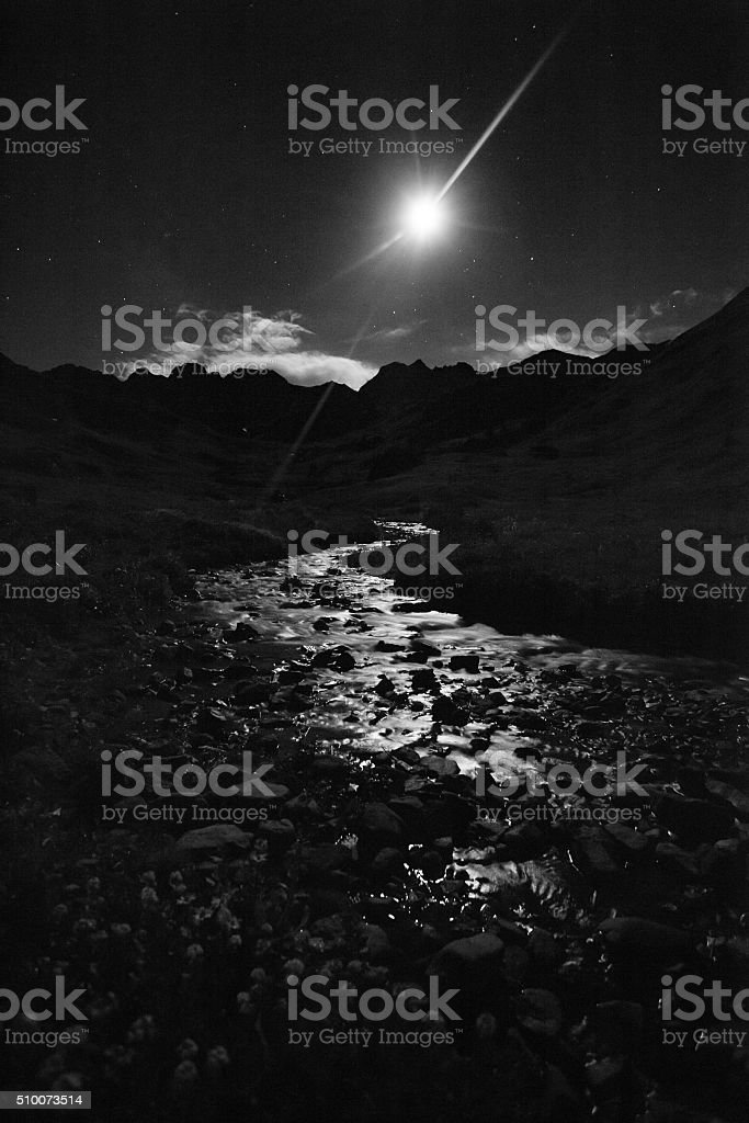 landscape night mountain river stock photo