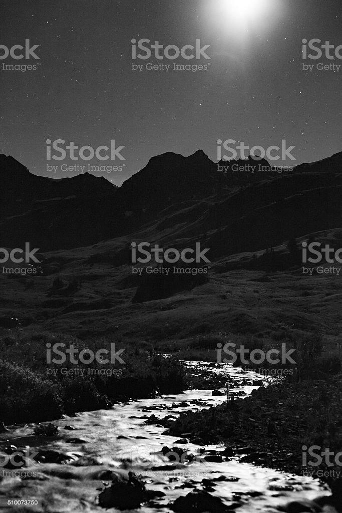 landscape night mountain river stock photo