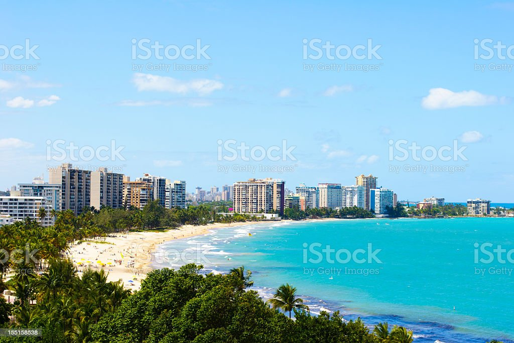 Landscape of a beach in Puerto Rico stock photo