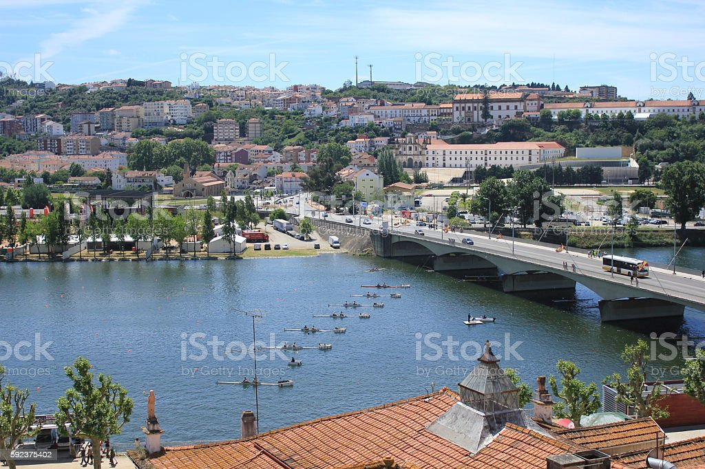 Landscape of a city crossed by a river. stock photo