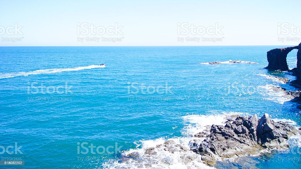 Landscape of a coast in Mexico stock photo