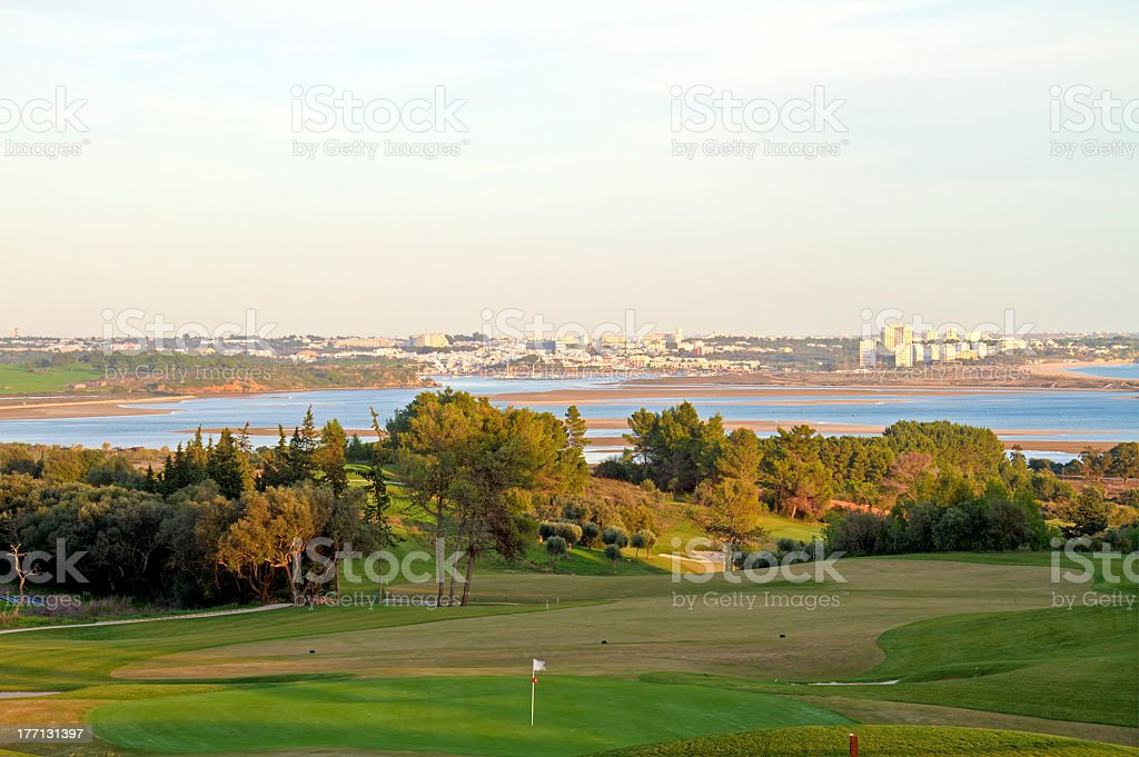 Landscape of a golf course on the coastline royalty-free stock photo