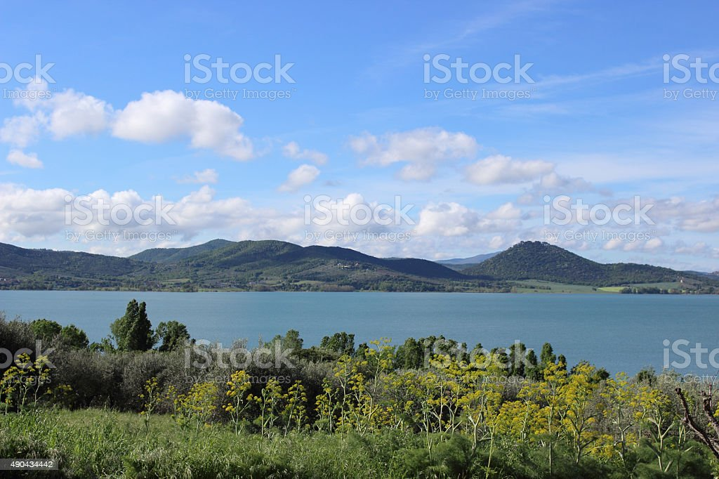 landscape of a lake stock photo
