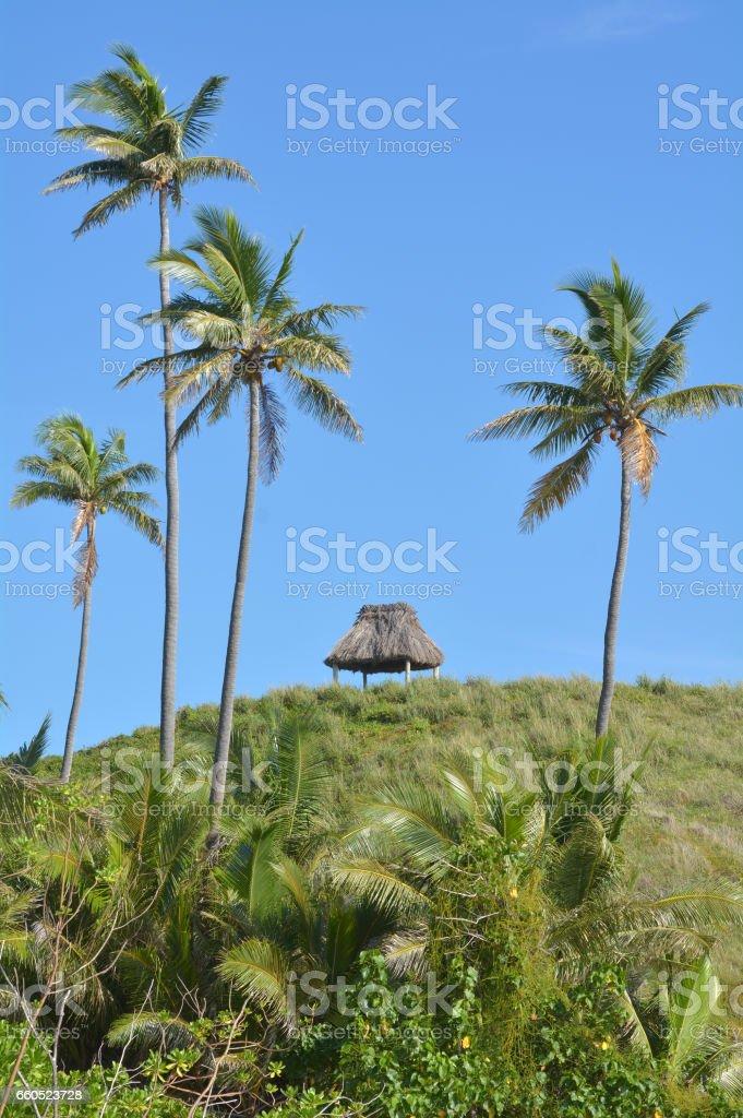 Landscape of a remote tropical beach in the Yasawa Islands Fiji stock photo