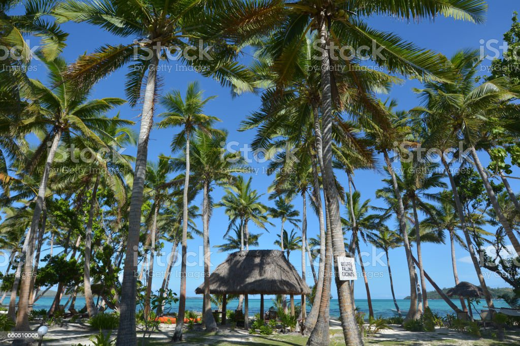 Landscape of a resort on tropical beach in Fiji stock photo