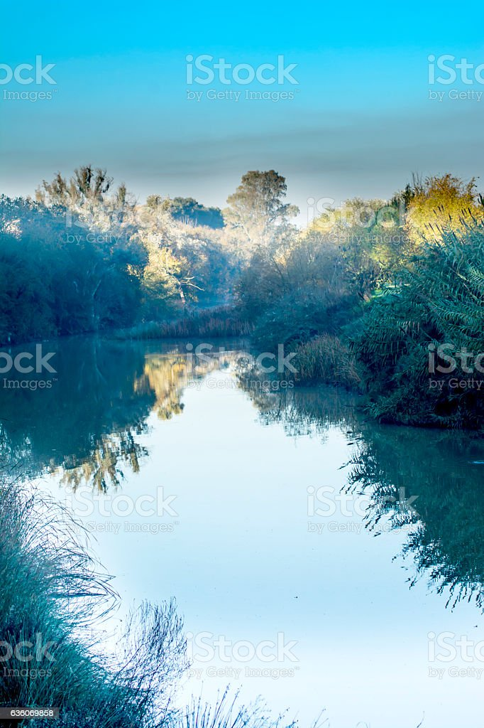 Landscape of a river in autumn stock photo